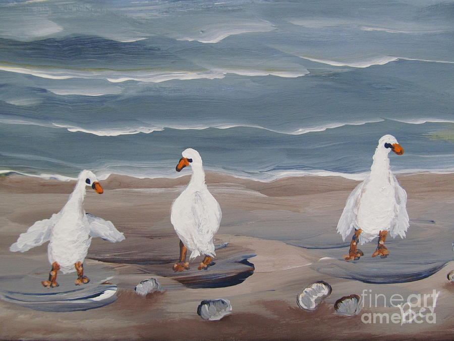 Seagulls At The Beach Painting  - Seagulls At The Beach Fine Art Print