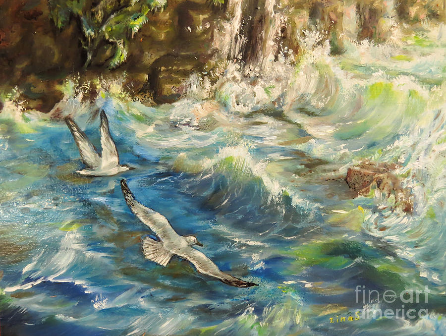 Seagulls Over The Rough Sea Painting