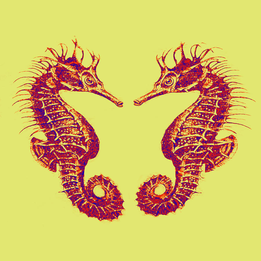 Seahorses In Love Digital Art  - Seahorses In Love Fine Art Print
