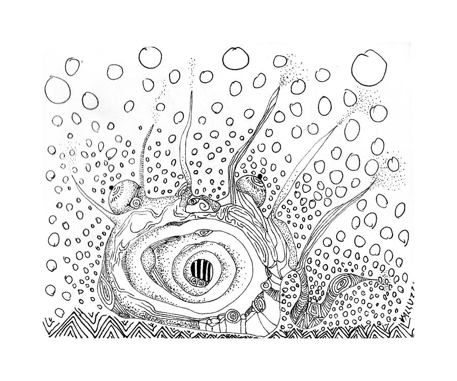 Sealife Smoooch Drawing  - Sealife Smoooch Fine Art Print