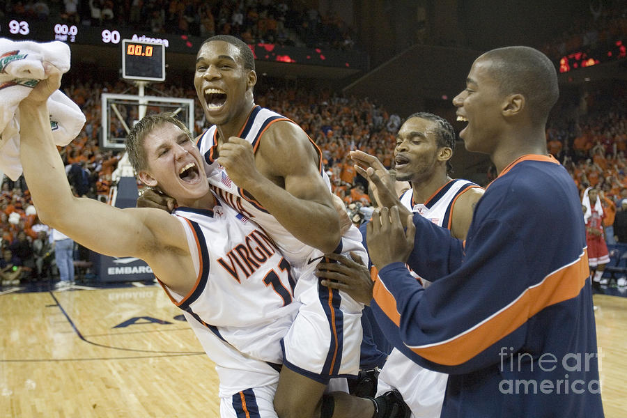 Sean Singletary And Lars Mikalauskas Celebrate Uva Win Over Arizona Photograph  - Sean Singletary And Lars Mikalauskas Celebrate Uva Win Over Arizona Fine Art Print