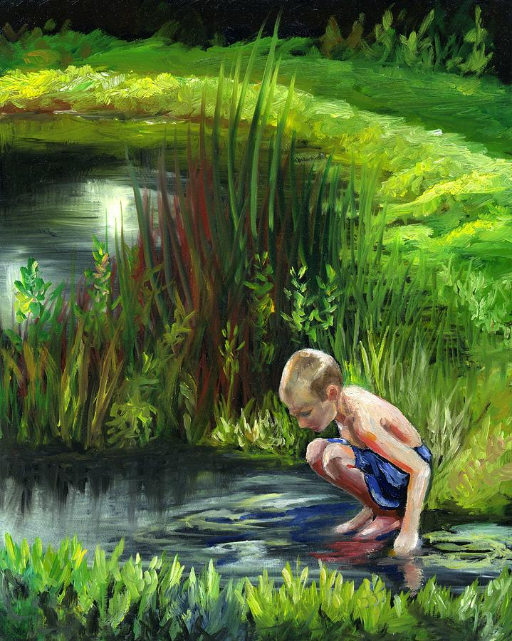 Searching For Frogs Painting  - Searching For Frogs Fine Art Print