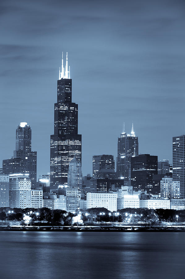 Sears Tower In Blue Photograph by Sebastian Musial
