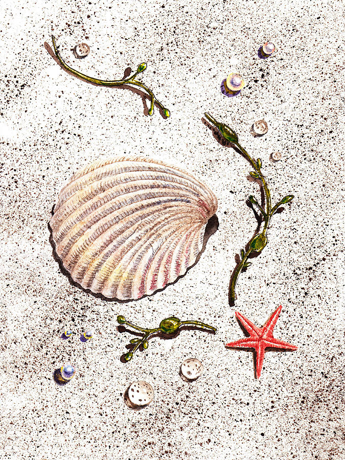 Seashell Sea Star And Pearls On The Beach Painting