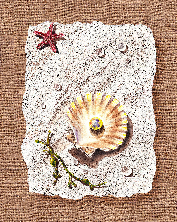 Seashell With The Pearl Sea Star And Seaweed  Painting