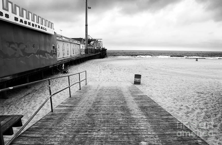 Seaside Heights Beach In Black And White Photograph  - Seaside Heights Beach In Black And White Fine Art Print