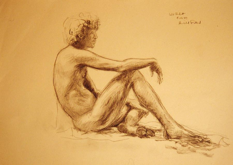 Seated Male Nude Drawing  - Seated Male Nude Fine Art Print