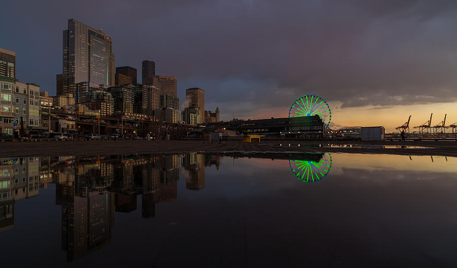 Seattle Cityscape And The Wheel Photograph  - Seattle Cityscape And The Wheel Fine Art Print