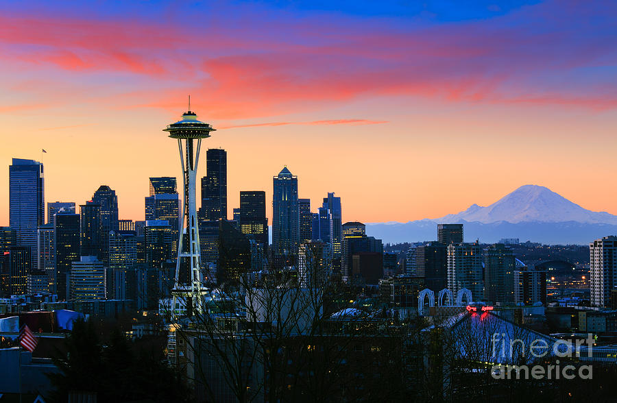 Seattle Downtown Morning Photograph  - Seattle Downtown Morning Fine Art Print