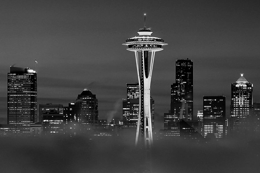 Seattle Morning Mist Black And White Photograph