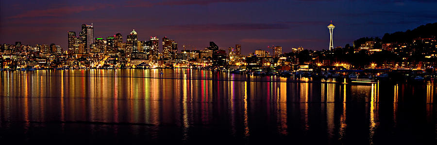 Seattle Night Reflections Photograph