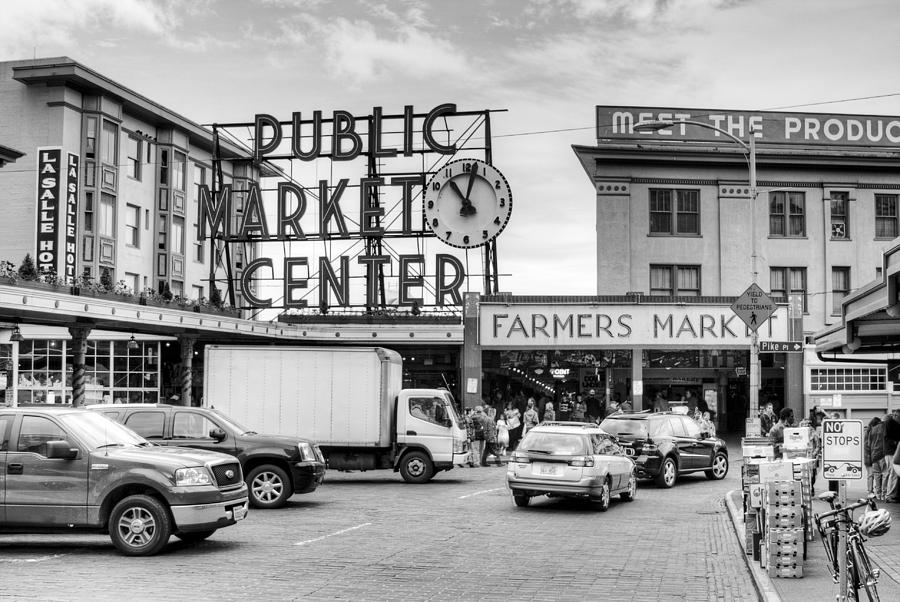 Seattle Photography Black And White Pike Place Public
