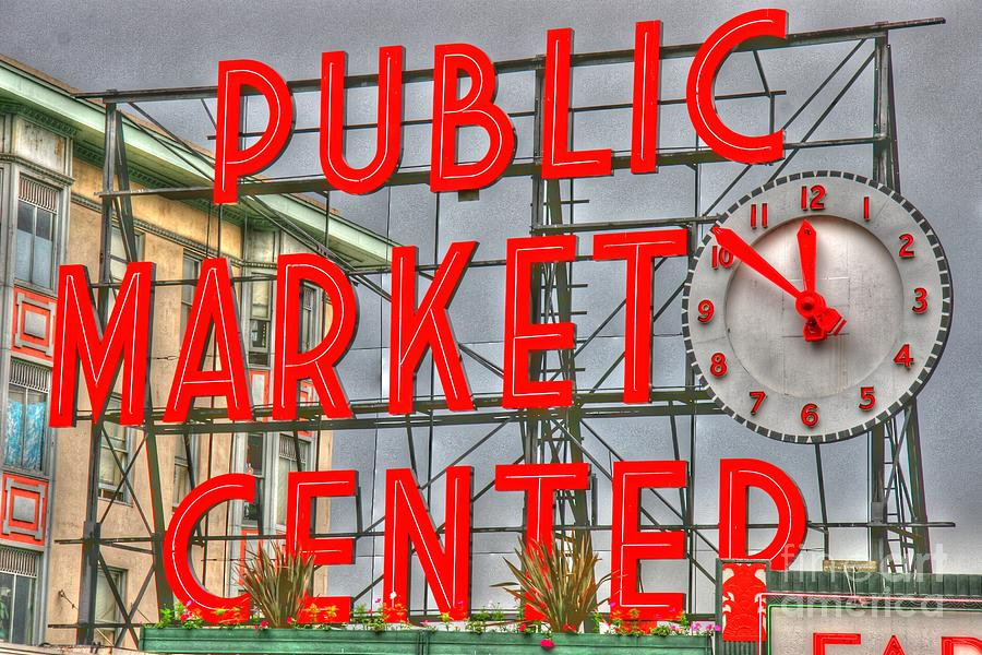 Seattle Public Market Center Clock Sign Photograph  - Seattle Public Market Center Clock Sign Fine Art Print