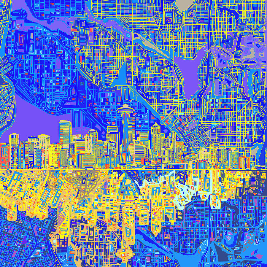 Seattle Skyline Abstract 6 is a painting by Bekim Art which was ...