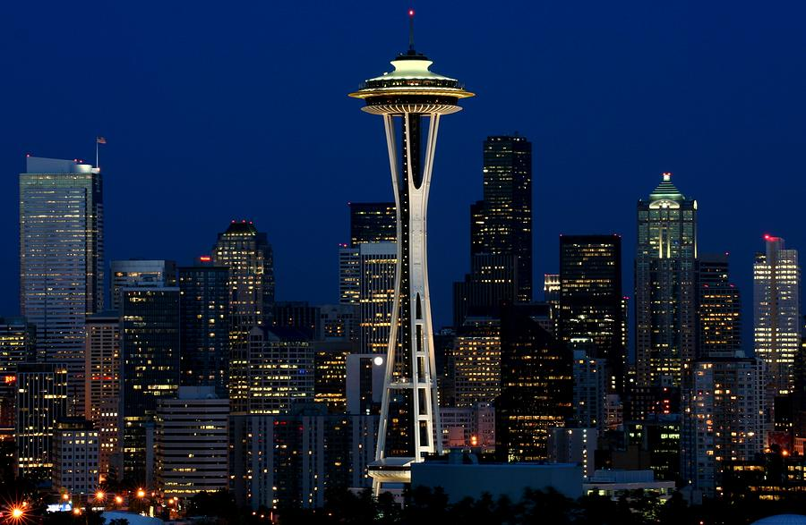 Seattle Skyline At Night Photograph  - Seattle Skyline At Night Fine Art Print