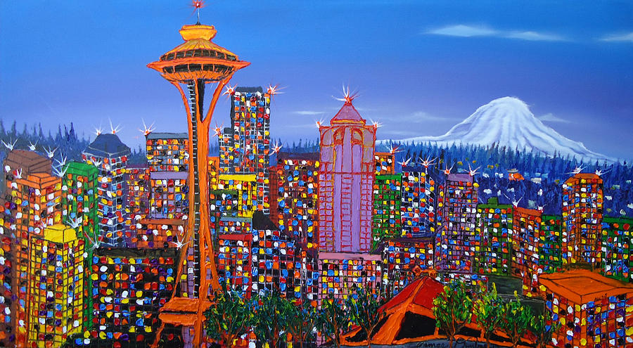 Seattle Space Needle 5 Painting  - Seattle Space Needle 5 Fine Art Print
