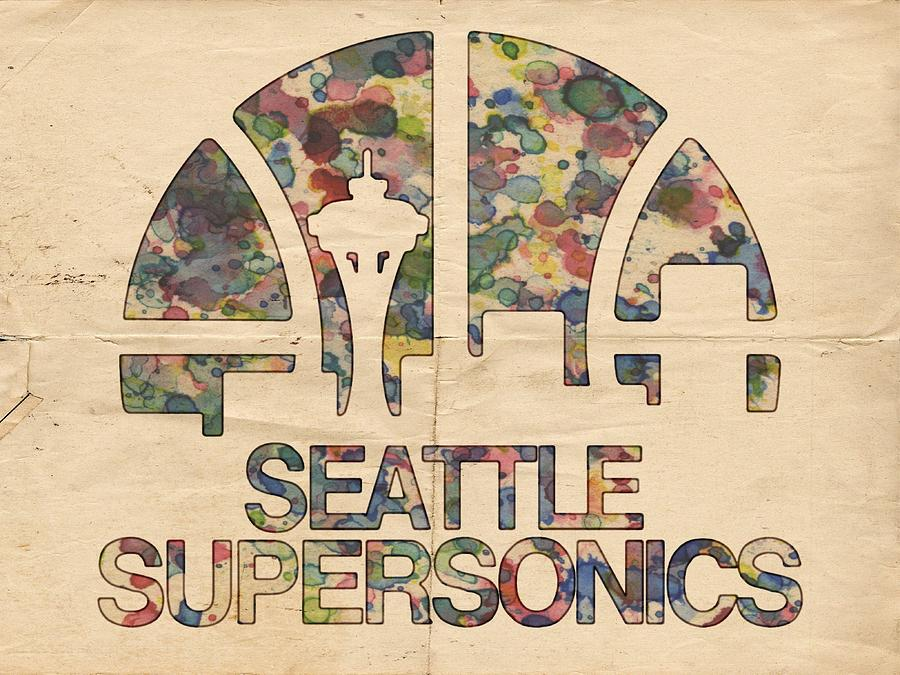 Seattle Supersonics Poster Vintage Painting