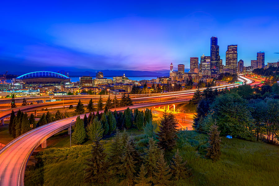 seattle twilight photograph