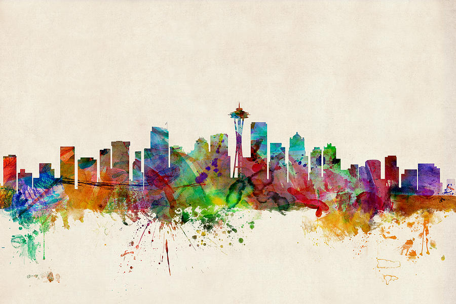 Seattle Washington Skyline Digital Art