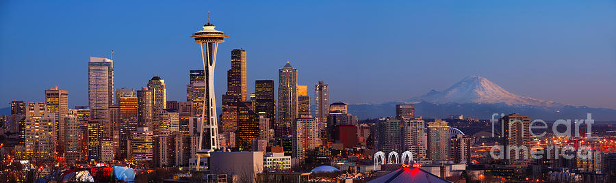 Seattle Winter Evening Panorama Photograph  - Seattle Winter Evening Panorama Fine Art Print