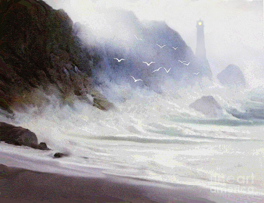 Lighthouse Painting - Seawall by Robert Foster