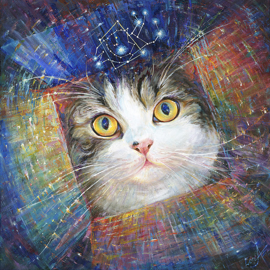 Secret Cosmic Box - Inspired By Maru The Cat Painting  - Secret Cosmic Box - Inspired By Maru The Cat Fine Art Print