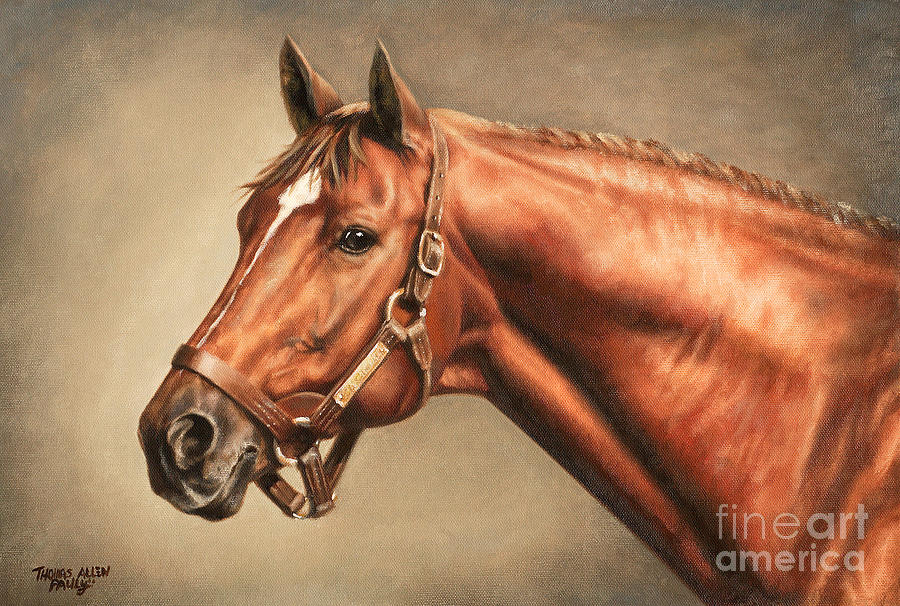 Secretariat At Claiborne Painting by Thomas Allen Pauly
