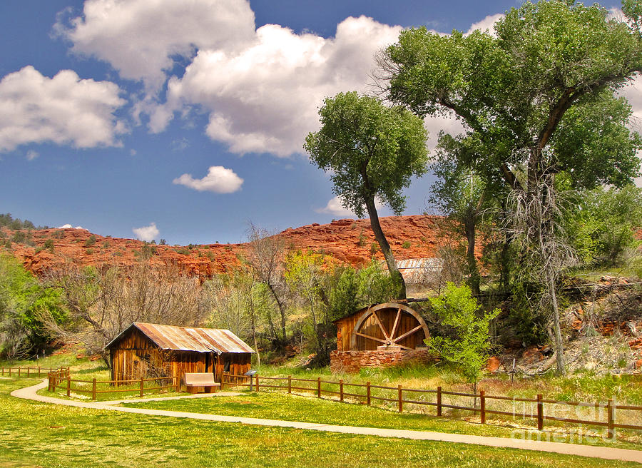 Sedona Arizona Barn And Waterwheel Photograph