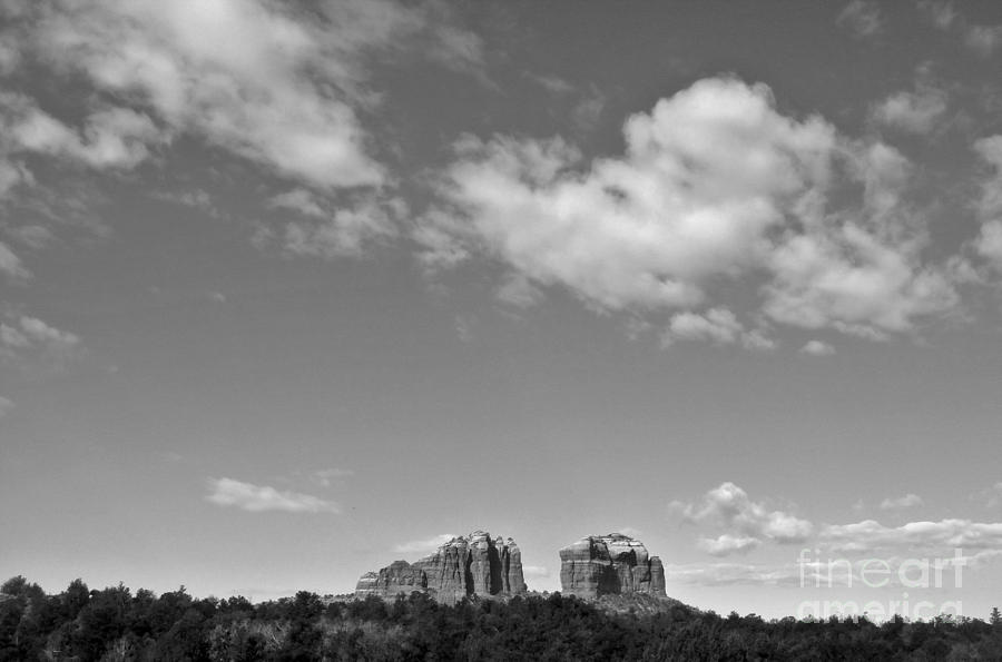 Sedona Arizona Big Sky In Black And White Photograph  - Sedona Arizona Big Sky In Black And White Fine Art Print