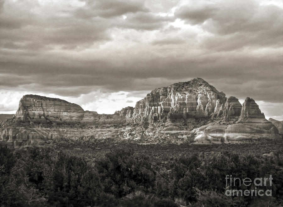 Sedona Arizona Black And White Mountains And Big Sky Photograph