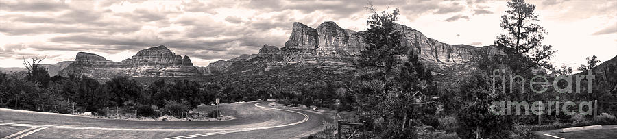 Sedona Arizona Black And White Panorama Photograph  - Sedona Arizona Black And White Panorama Fine Art Print
