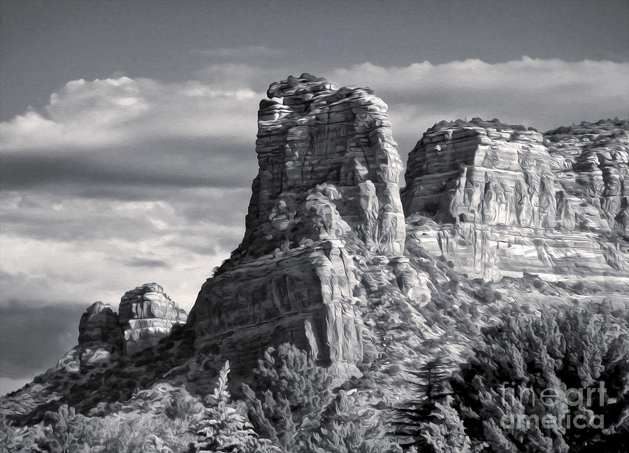 Sedona Arizona Mountain Peak - Black And White Painting  - Sedona Arizona Mountain Peak - Black And White Fine Art Print
