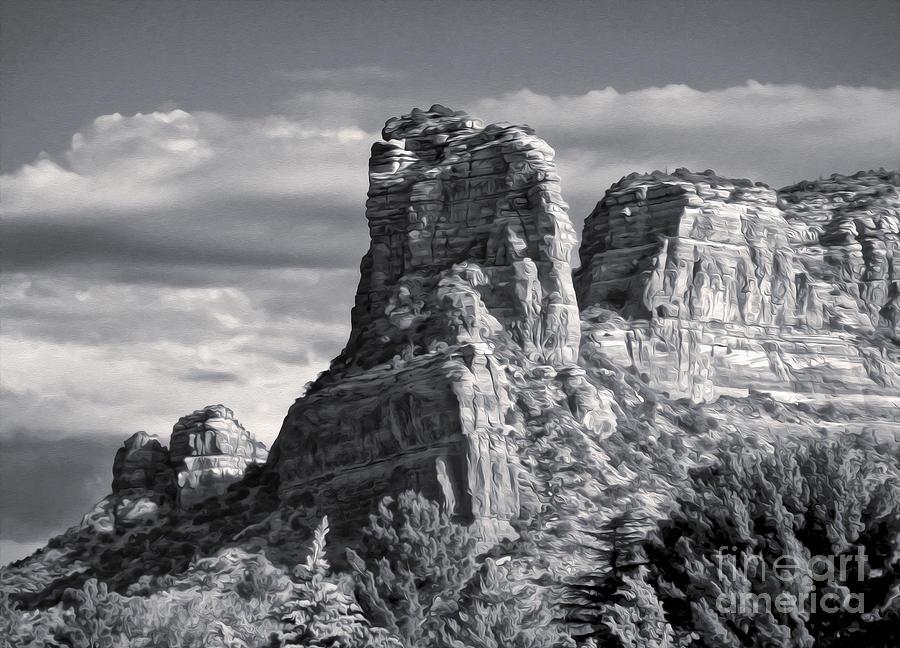 Sedona Arizona Mountain Peak - Black And White Painting