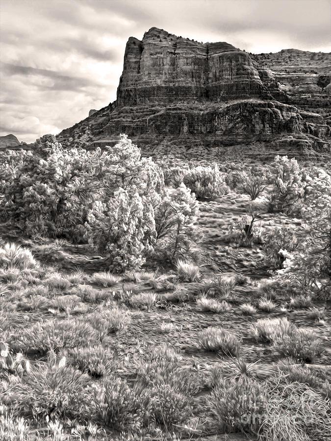 Sedona Arizona Mountain View  - Black And White Photograph