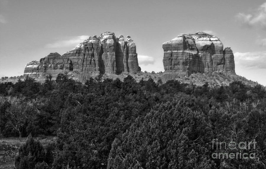 Sedona Arizona Mountains - Black And White Photograph