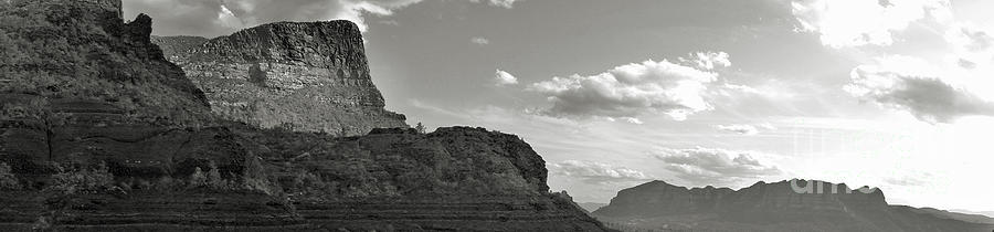 Sedona Arizona Mountains Black And White Panorama Photograph
