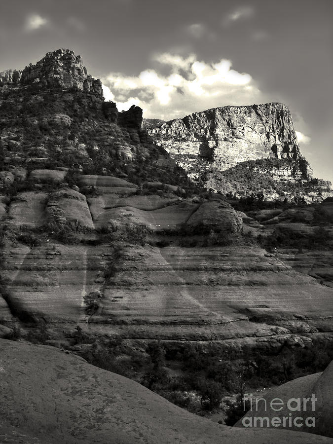 Sedona Arizona Mountains In Black And White - 02 Photograph  - Sedona Arizona Mountains In Black And White - 02 Fine Art Print