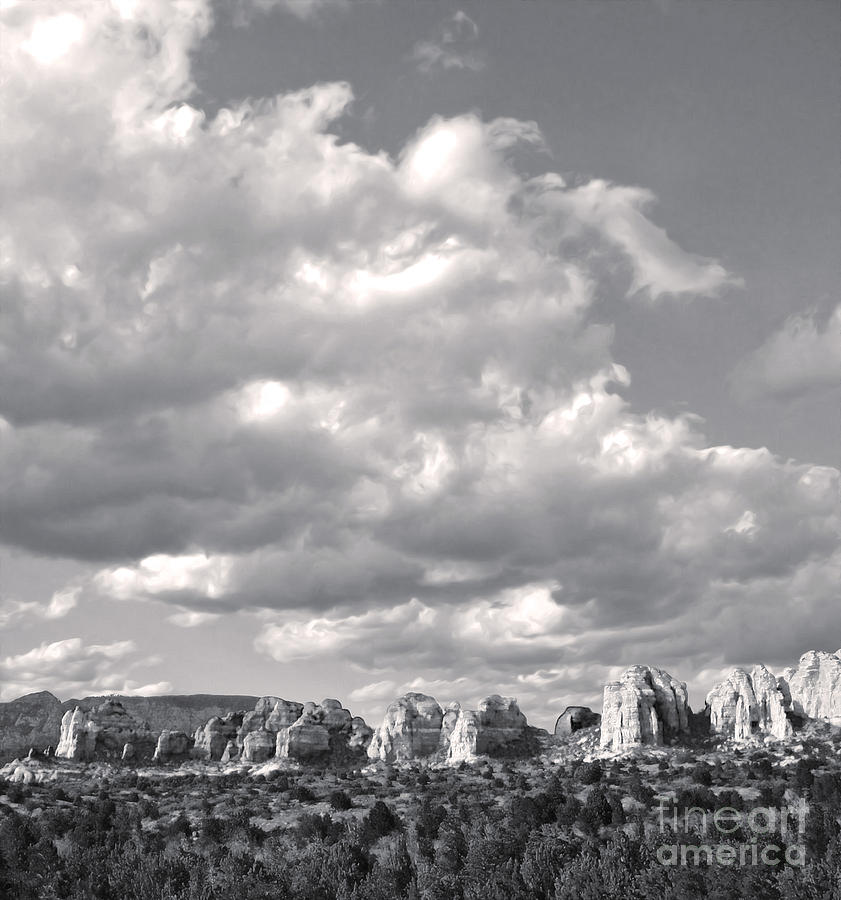 Sedona Arizona Mountains In Black And White Photograph