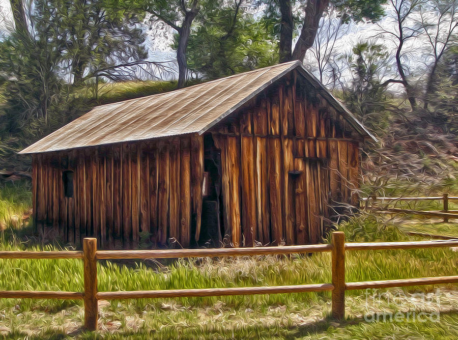 Sedona Arizona Old Barn Painting  - Sedona Arizona Old Barn Fine Art Print