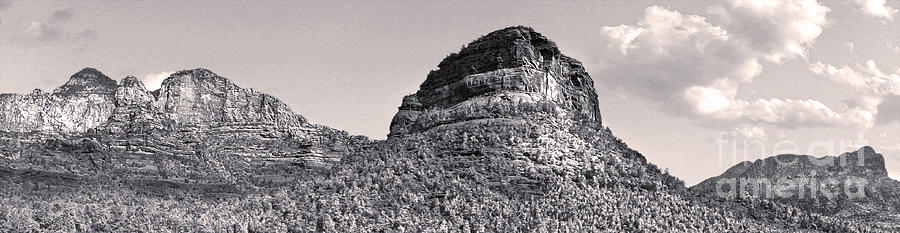 Sedona Arizona Panorama In Black And White Photograph