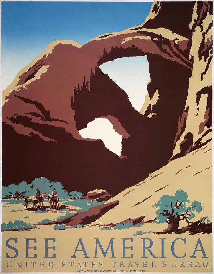 Desert Digital Art - See America - Cowboys by Georgia Fowler