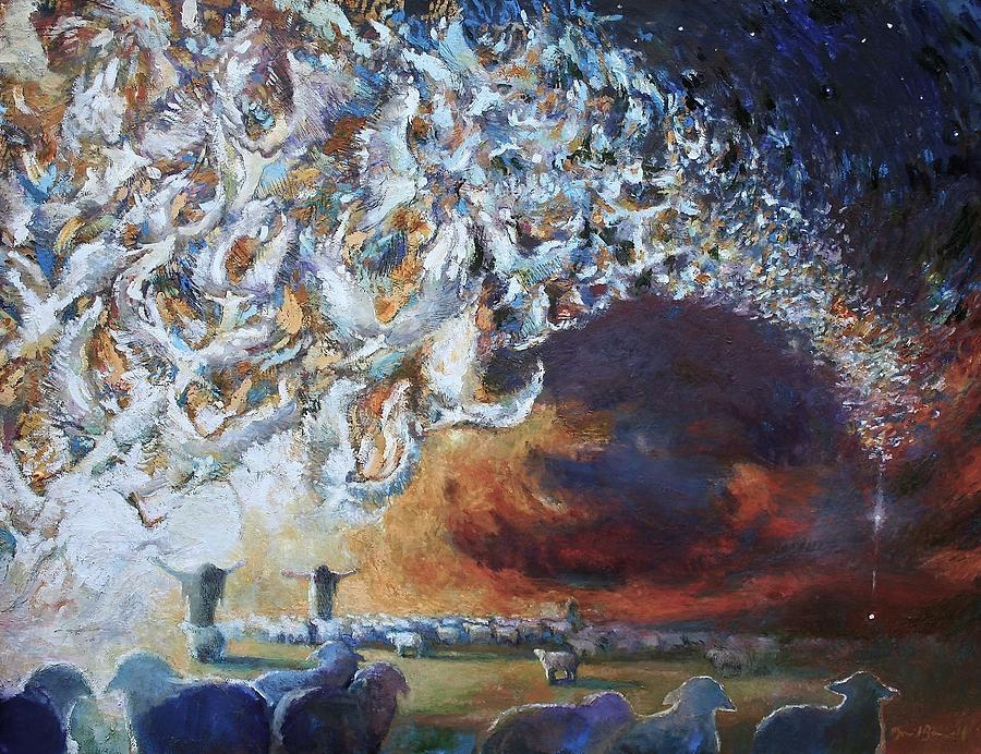 Christmas Painting - Seeing Shepherds by Daniel Bonnell