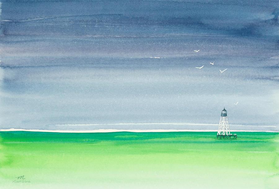 Seeking Refuge Before The Storm Alligator Reef Lighthouse Painting