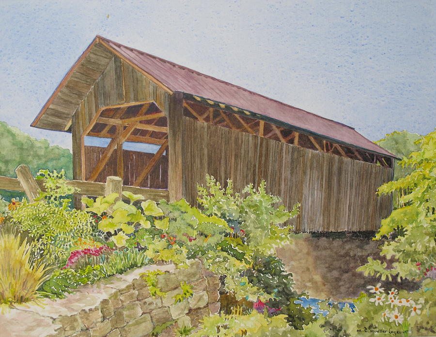 Landscape Painting - Seguin Covered Bridge In Charlotte Vermont by Mary Ellen  Mueller Legault