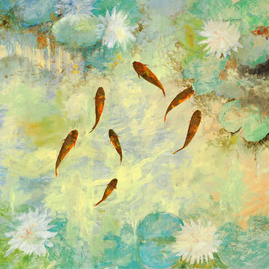 Koi Painting - Sei Pesciolini Verdi by Guido Borelli