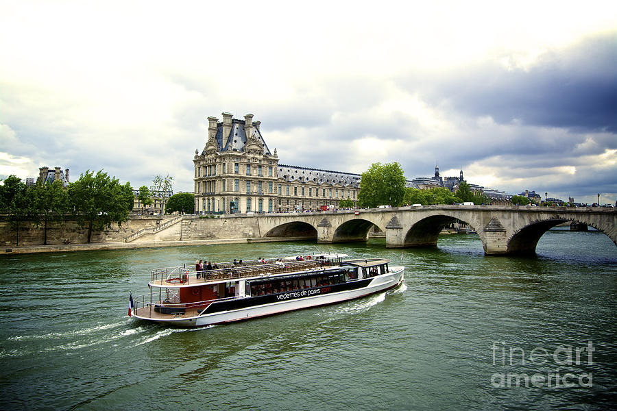 Seine River And Louvre Museum. Paris. France. Photograph