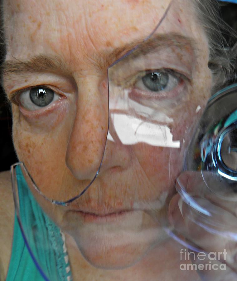 Self Portrait With Broken Glass Photograph  - Self Portrait With Broken Glass Fine Art Print