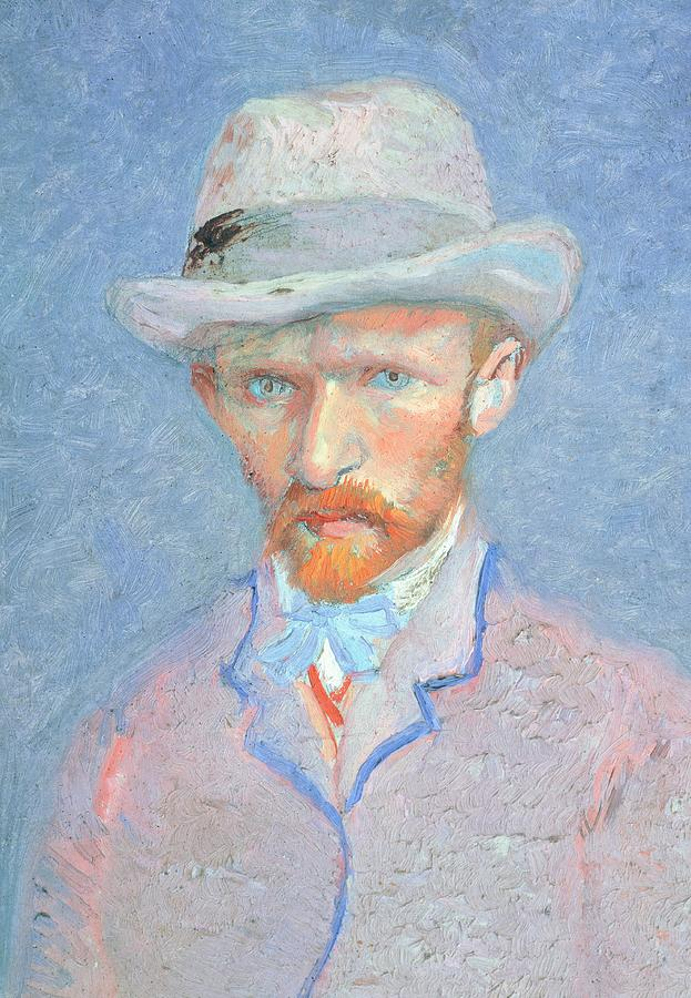 Art Painting - Self-portrait With Gray Felt Hat by Vincent van Gogh