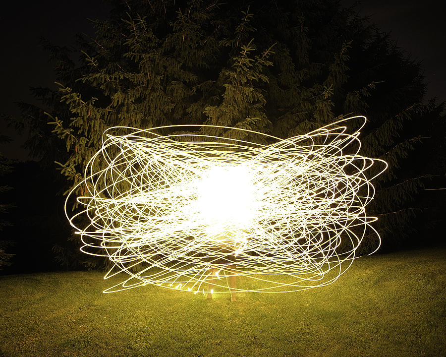 Self Portrait Within Light Swirls 2012 Photograph