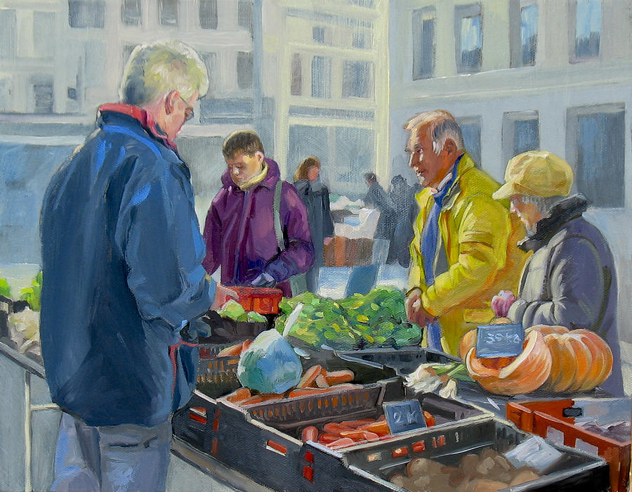 Selling Vegetables At The Market Painting  - Selling Vegetables At The Market Fine Art Print